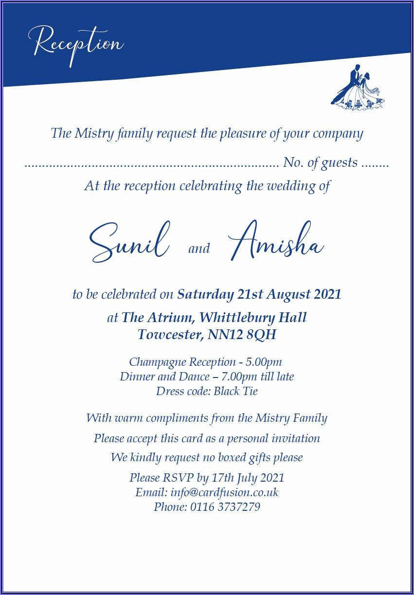Indian Wedding Reception Invitation Card Template