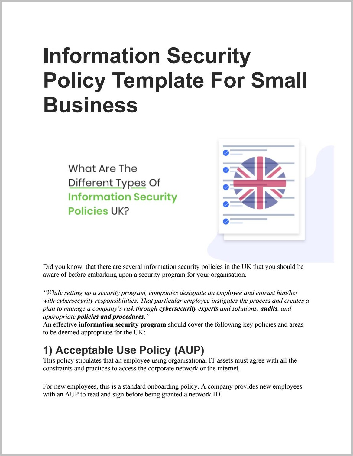 Information Security Policy Template For Small Business