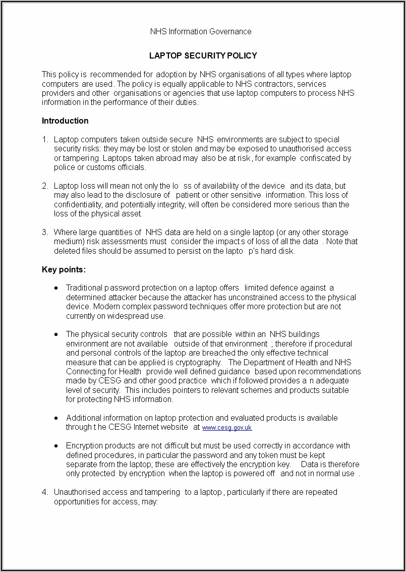 Information Security Policy Template Uk