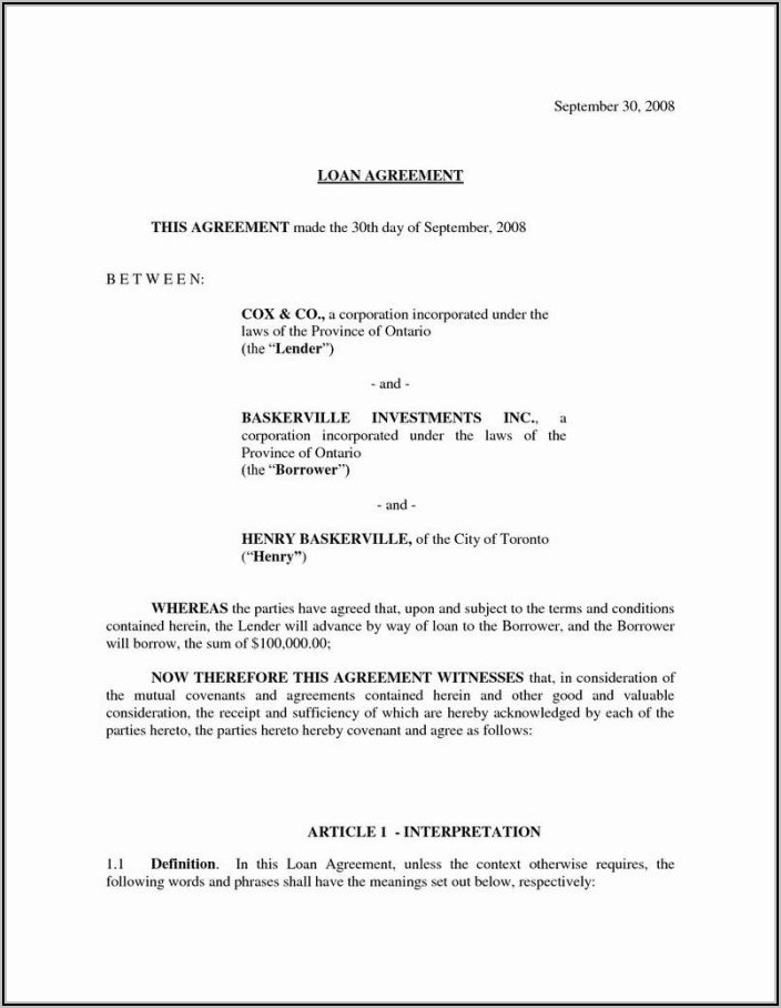 Investor Contract Template Free