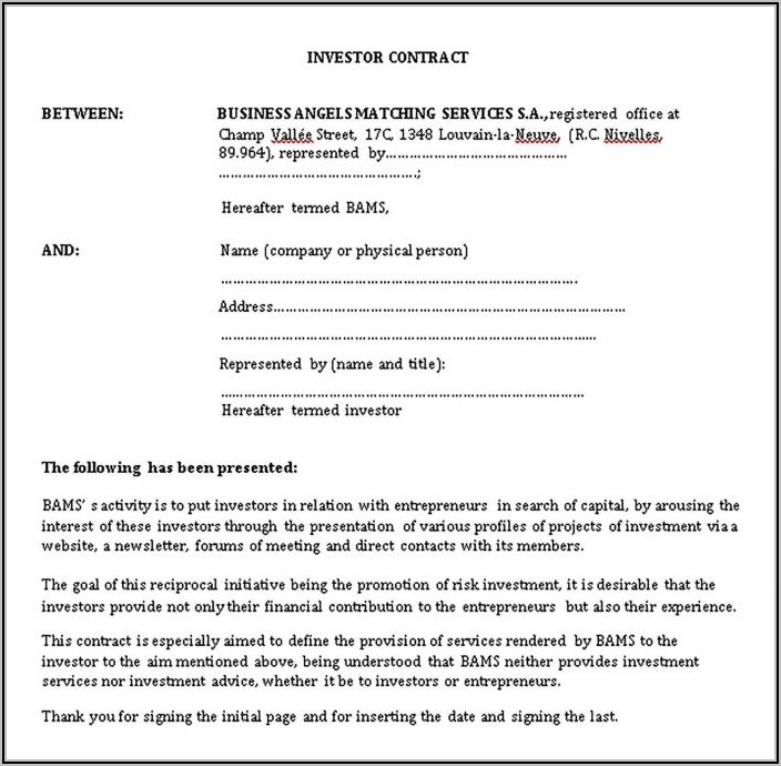 Investor Contract Template