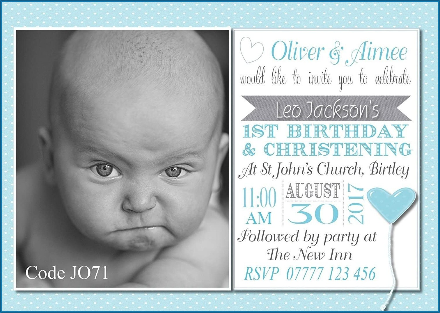 Invitation Card Design For 1st Birthday And Christening