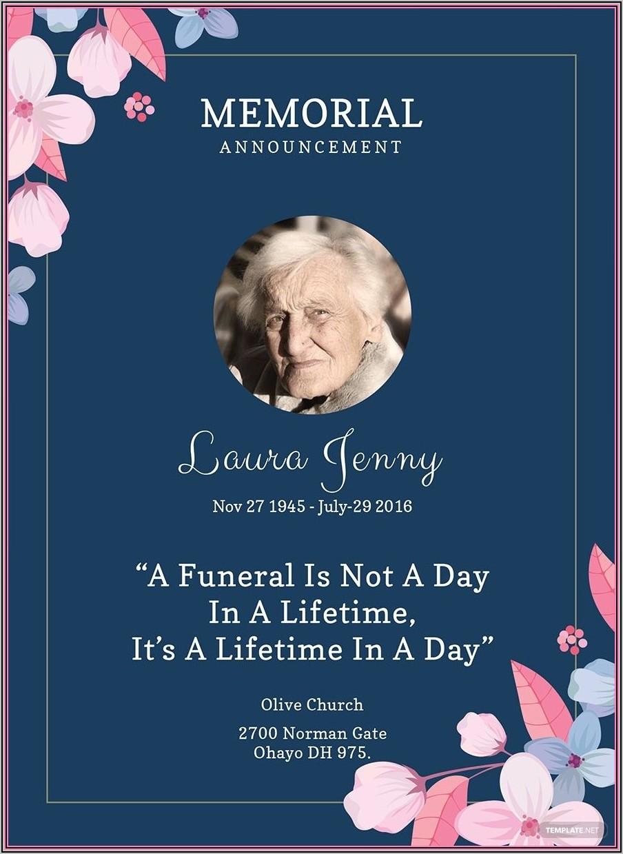 Invitation To Memorial Service Template