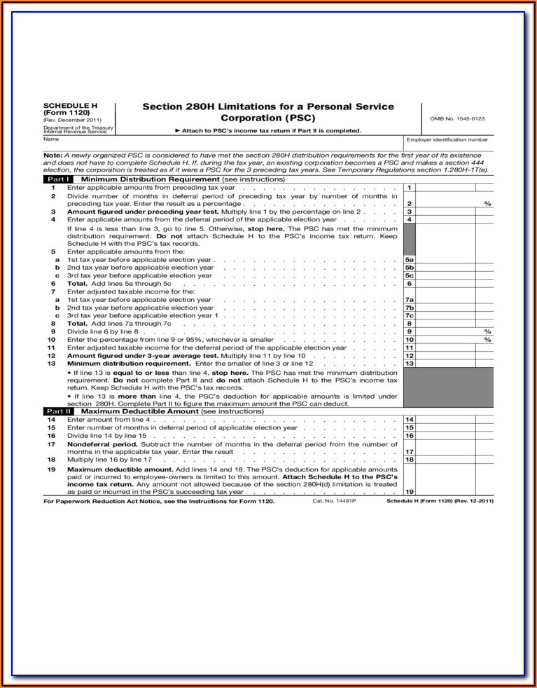 Irs Form 1120 For 2014