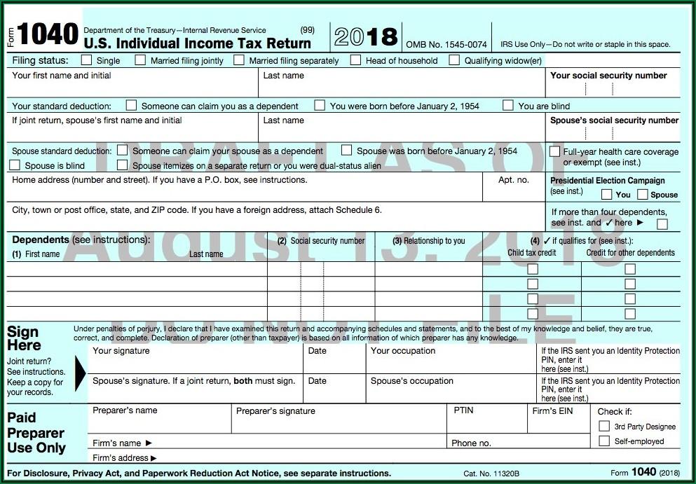 Irs Printable 1040 Tax Form 2018