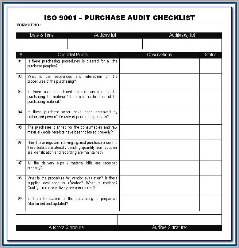 Iso 9001 Audit Schedule Template