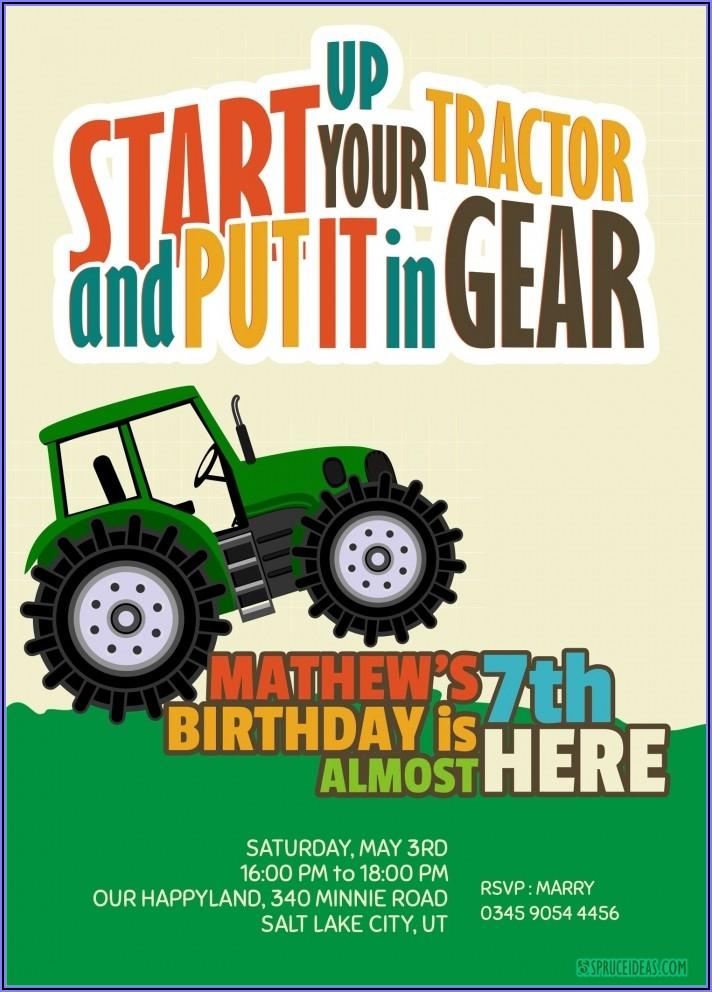 John Deere Tractor Birthday Invitations