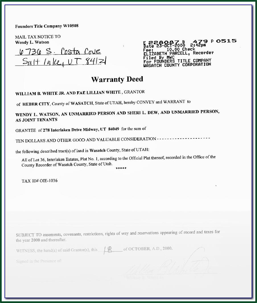 Joint Tenancy Deed Form