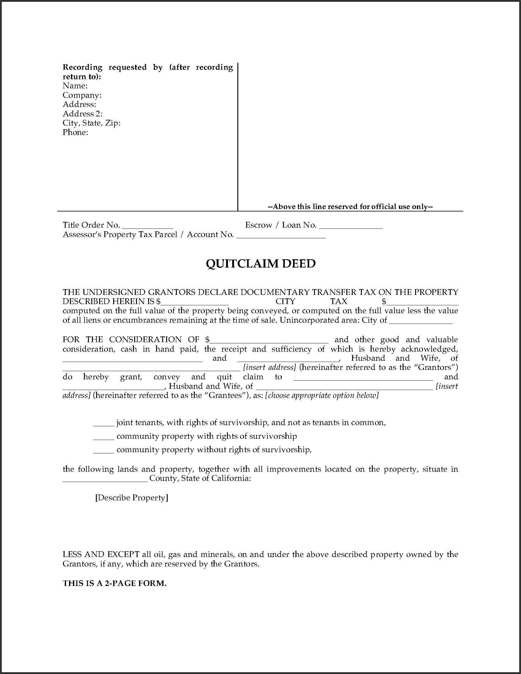 Joint Tenancy Grant Deed Form