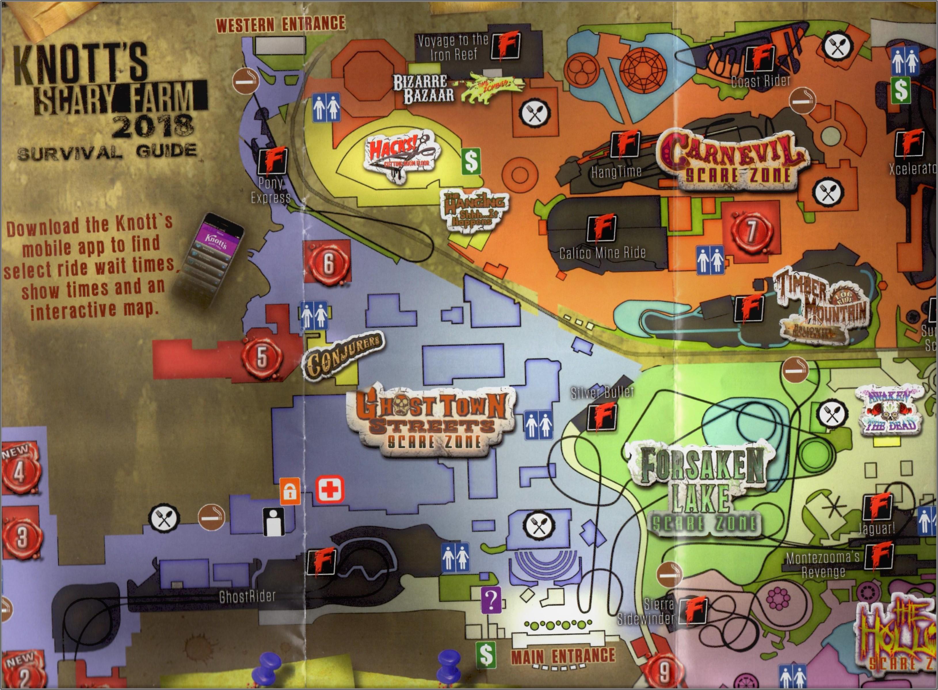 Knott's Berry Farm Park Map 2019