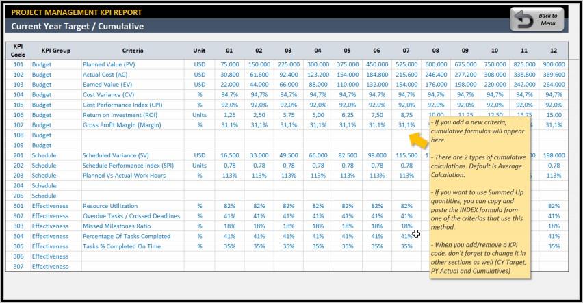 Kpi Dashboard Excel Sample