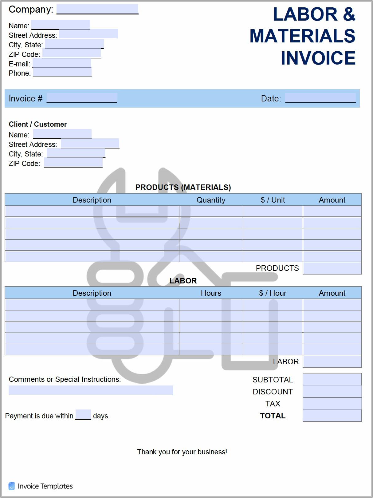 Labor Invoice Template Word