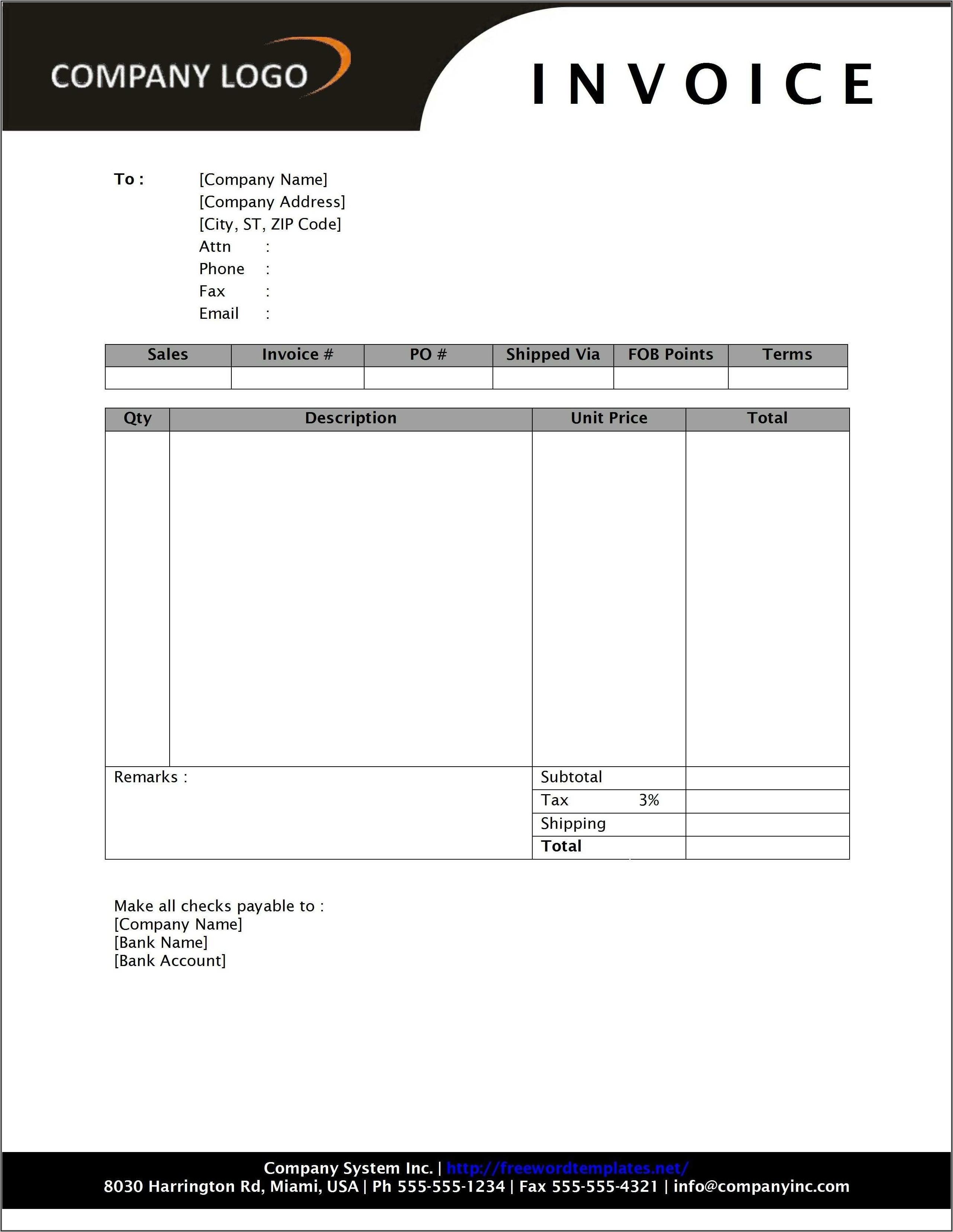 Landscape Invoice Template Excel