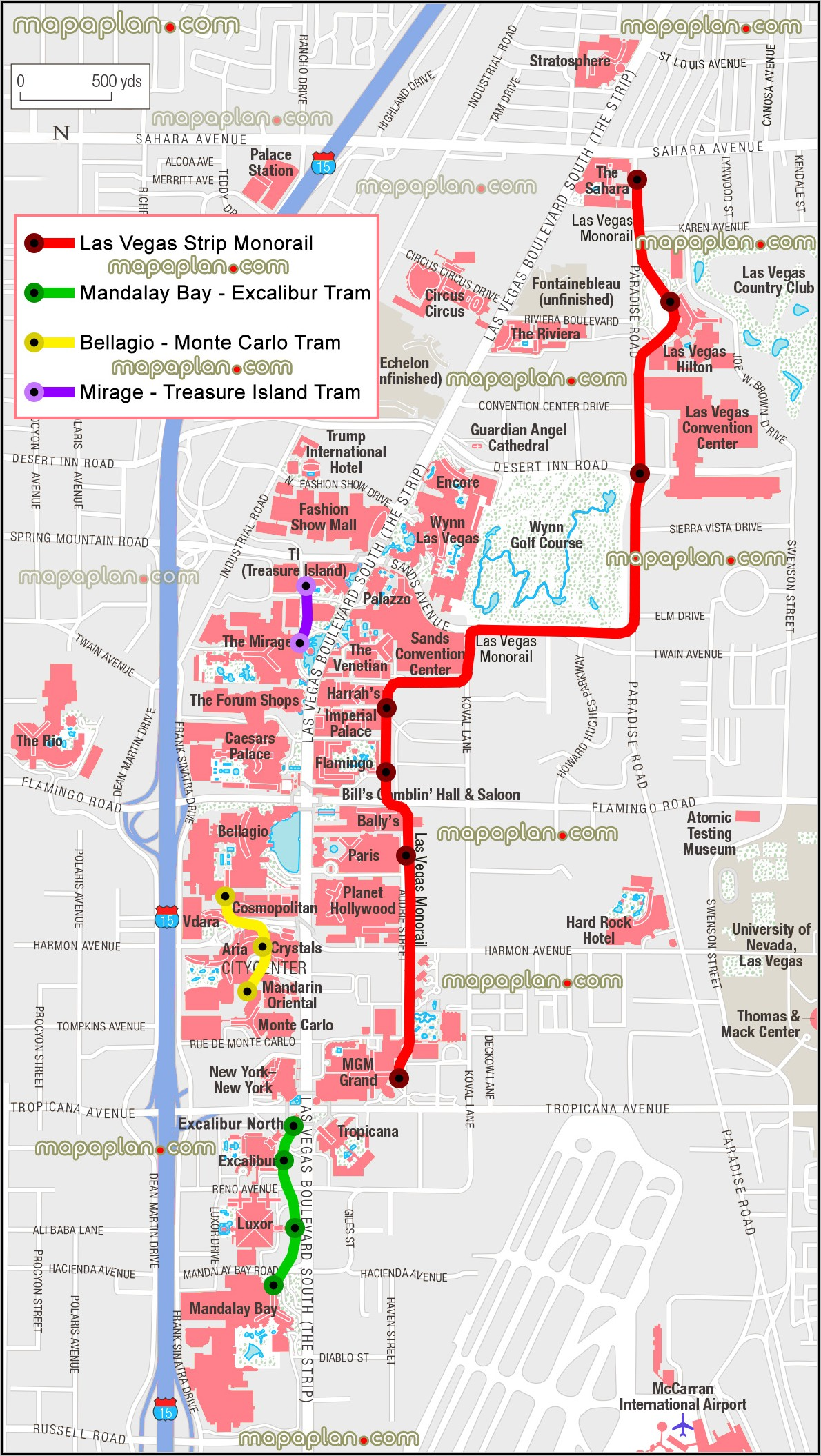 Las Vegas Strip Map With Monorail Stops