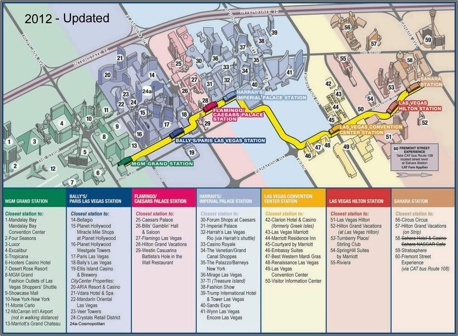 Las Vegas Strip Monorail Map 2019