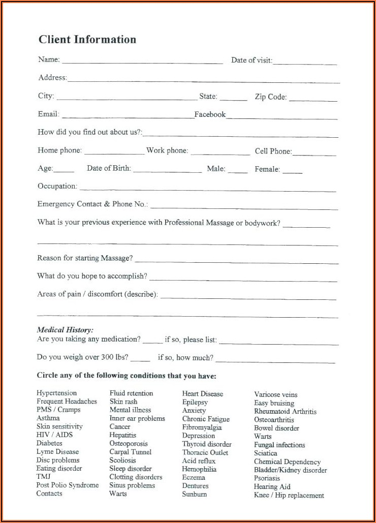 Law Firm Client Intake Form Template