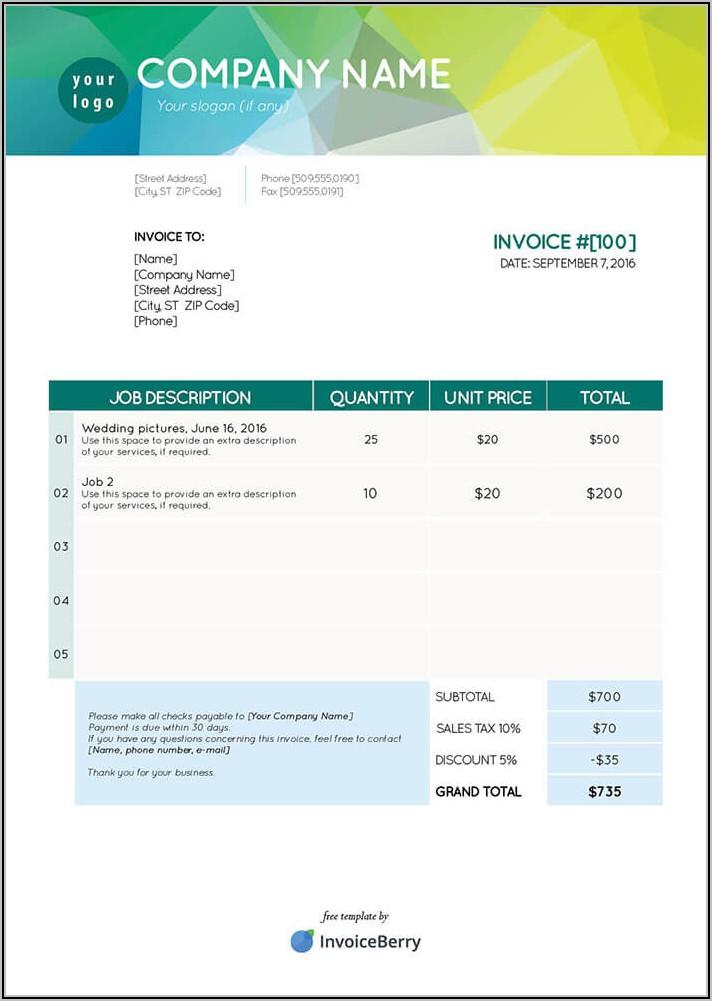 Lawn Care Invoice Template Free