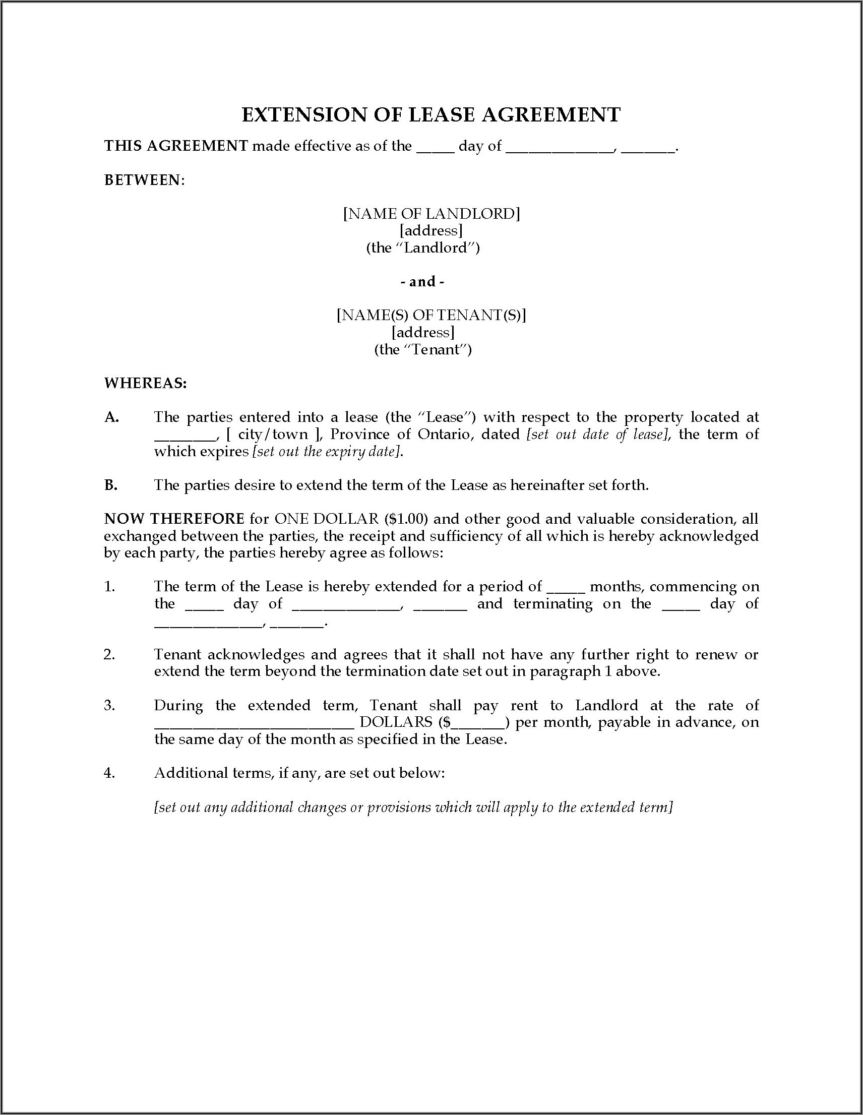 Lease Agreement Extension Format India