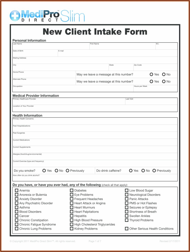 Legal Client Intake Form Template Download