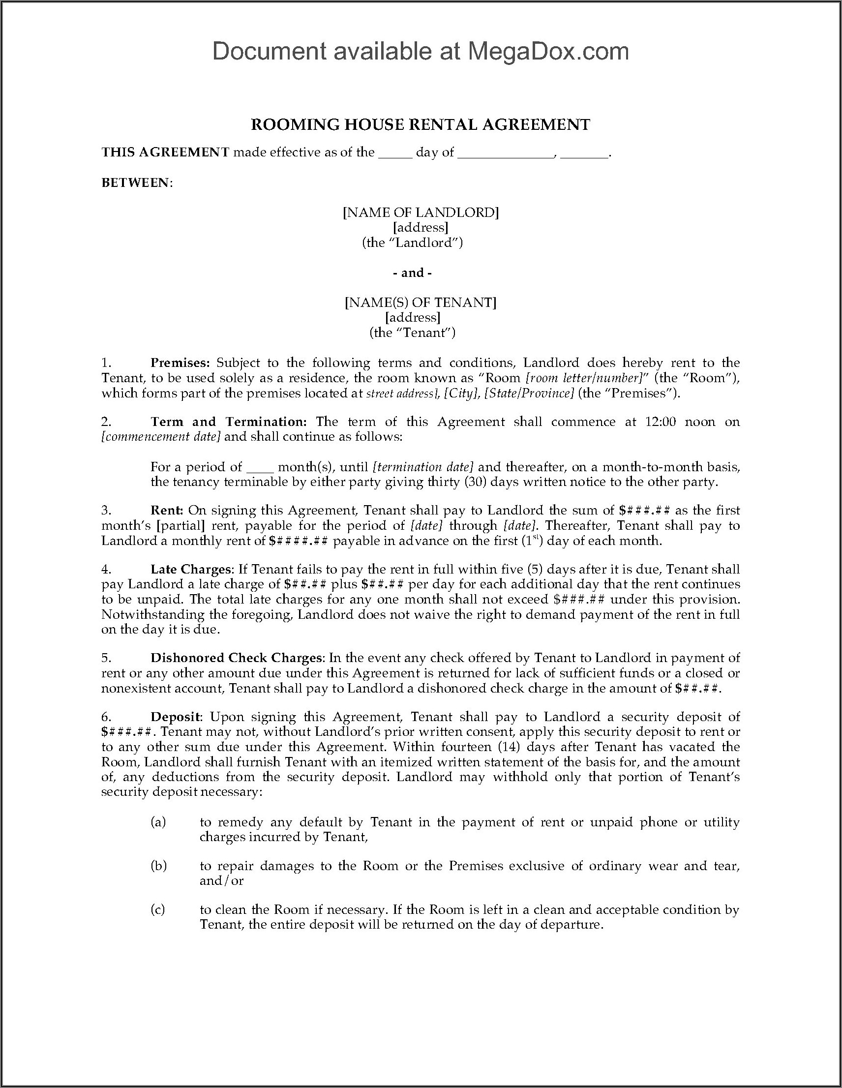 Legal House Rental Agreement Forms