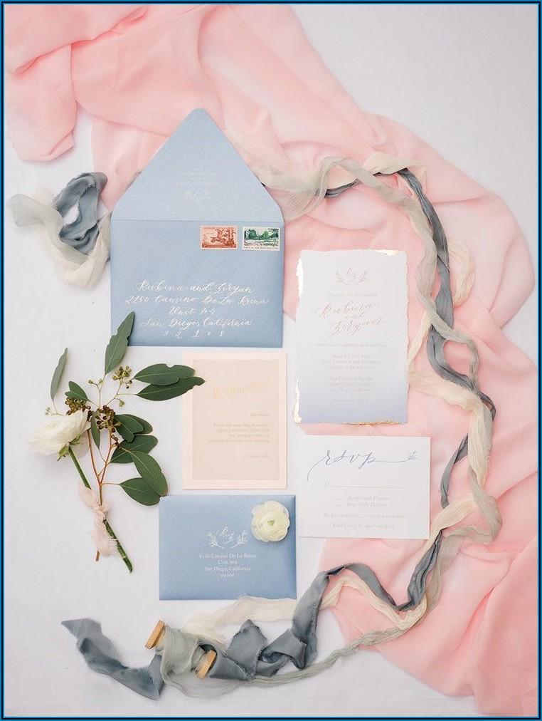 Light Blue And Gold Wedding Invitations