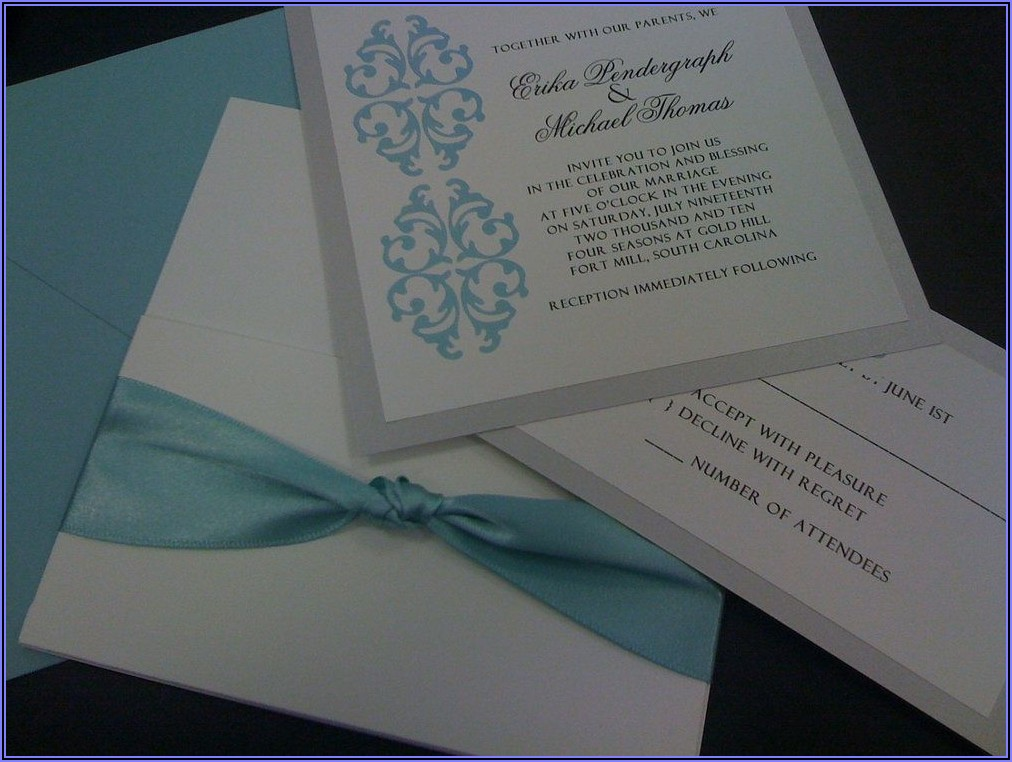 Light Blue And Silver Wedding Invitations