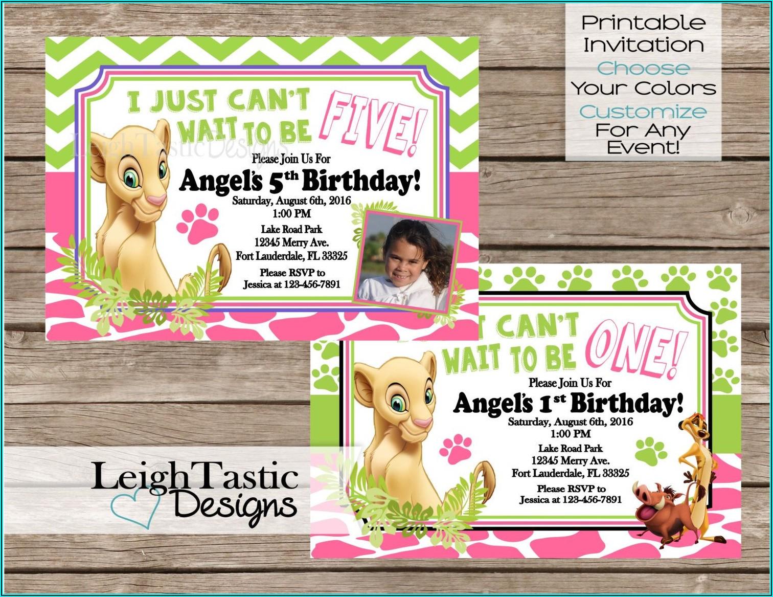Lion King Birthday Party Invites