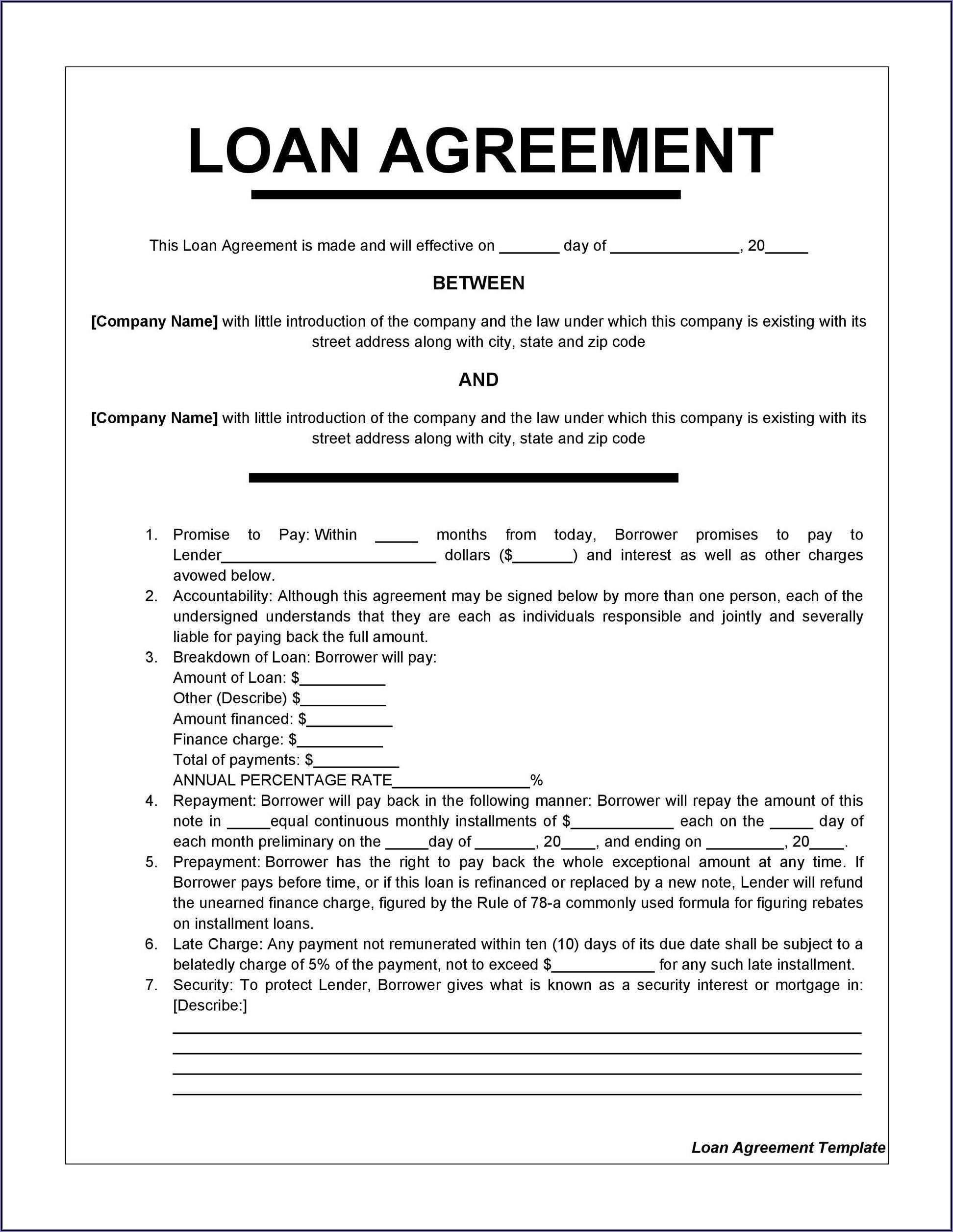 Loan Agreement Template Sample
