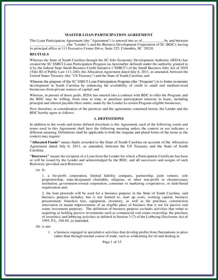 Loan Participation Agreement Template