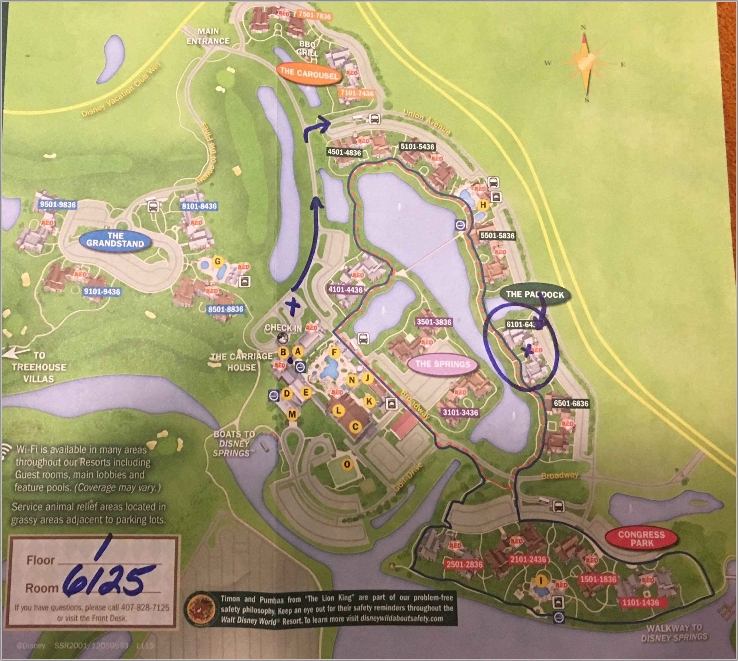 Map Of Saratoga Springs Disney World Resort