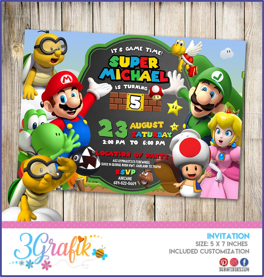 Mario Bros Invitation Template