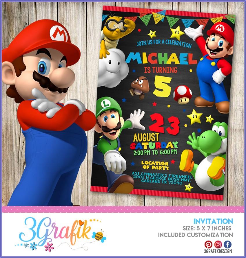 Mario Brothers Birthday Invitation Templates
