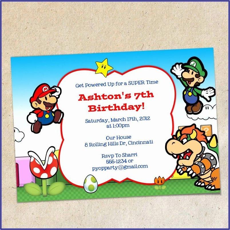 Mario Brothers Invitation Template