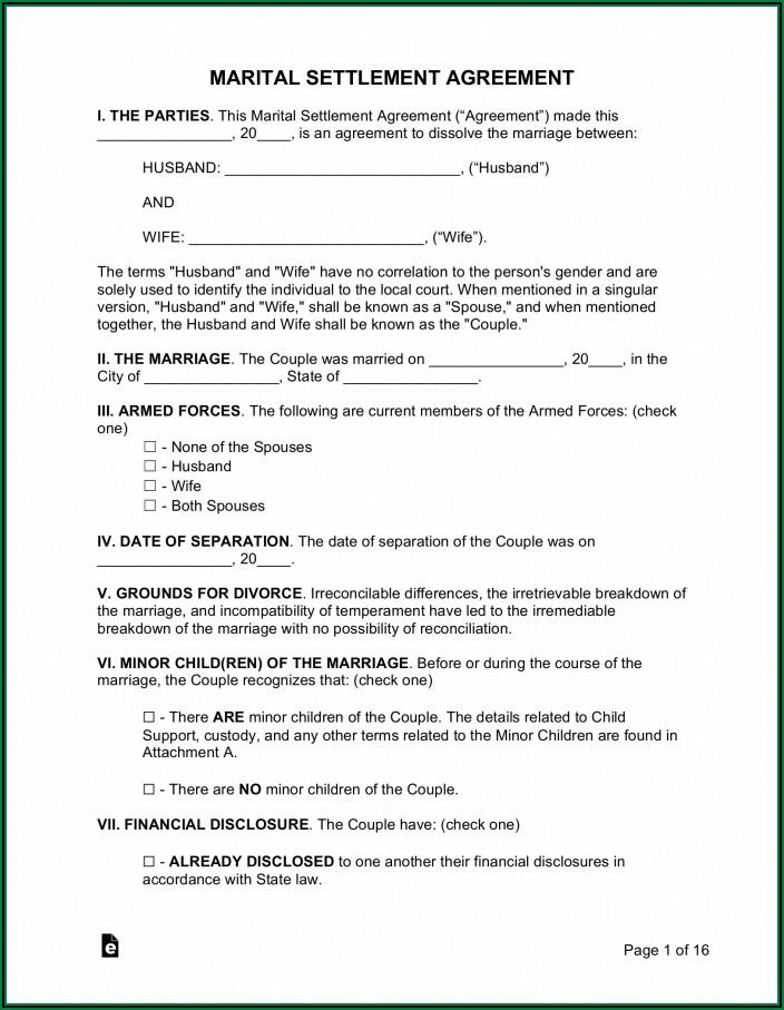 Marital Separation Agreement Form Ny