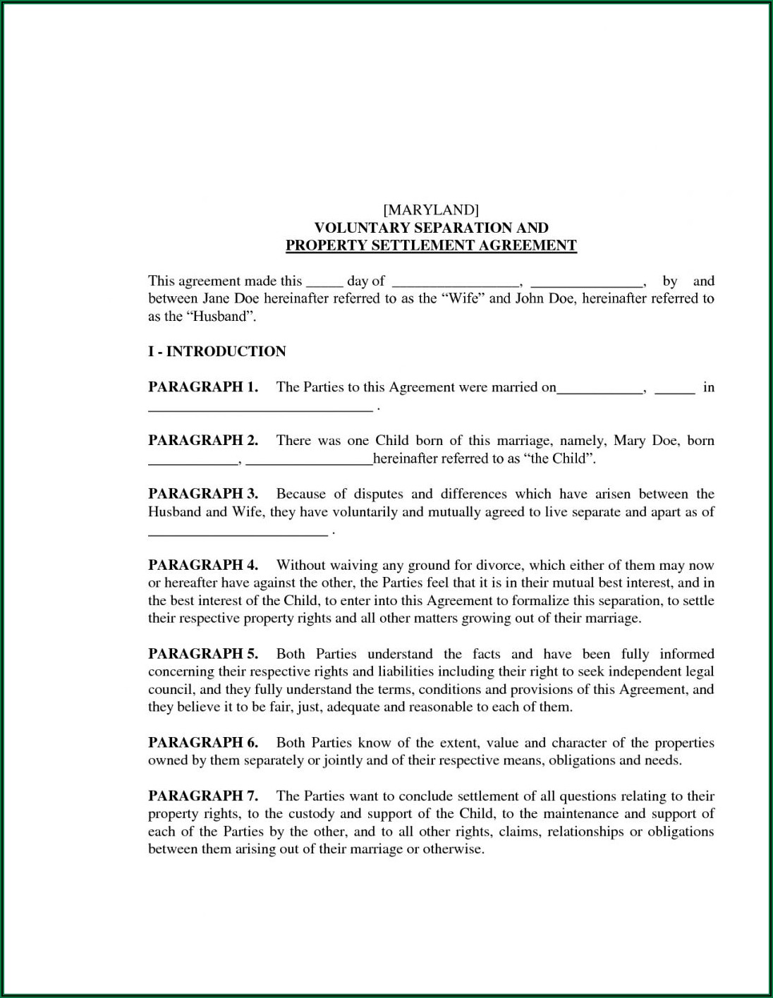 Marital Separation Agreement Form Pennsylvania