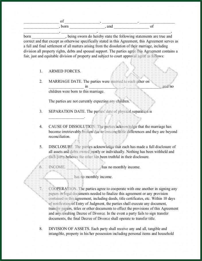 Marital Separation Agreement Form Texas