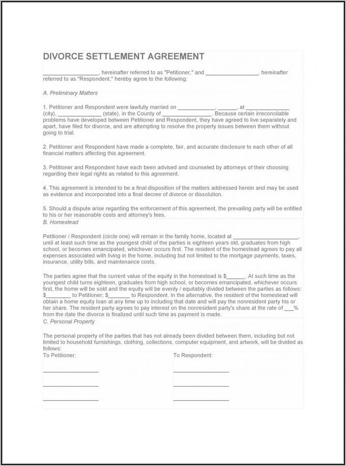 Marital Settlement Agreement Template Illinois