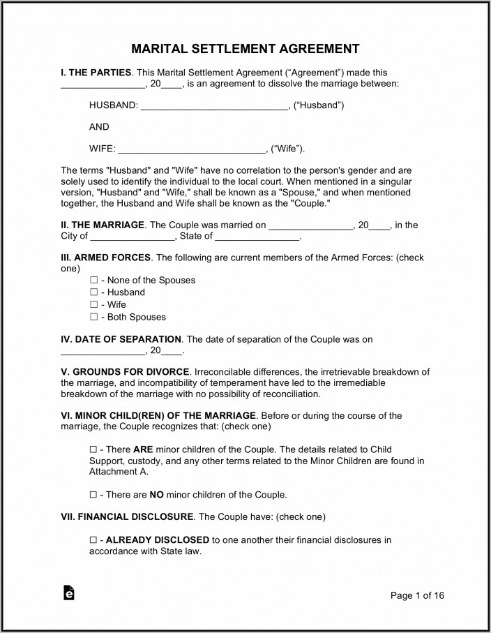 Marital Settlement Agreement Template Maryland