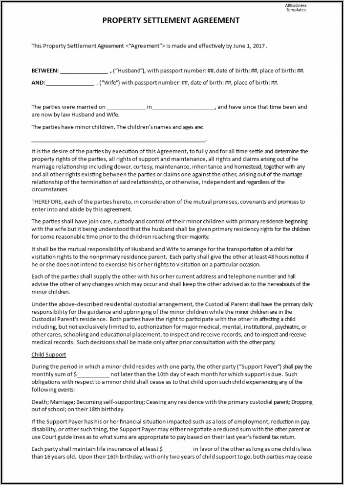 Marital Settlement Agreement Template Nj