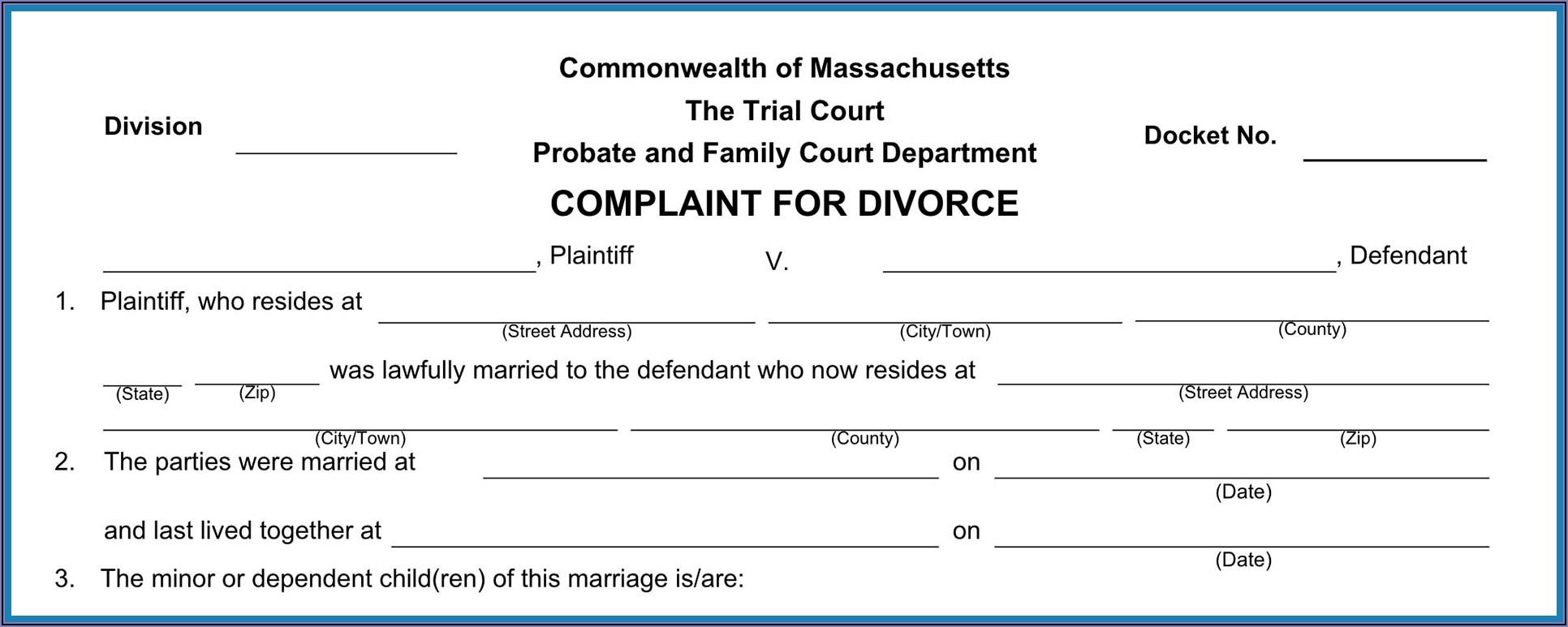 Massachusetts Divorce Court Forms