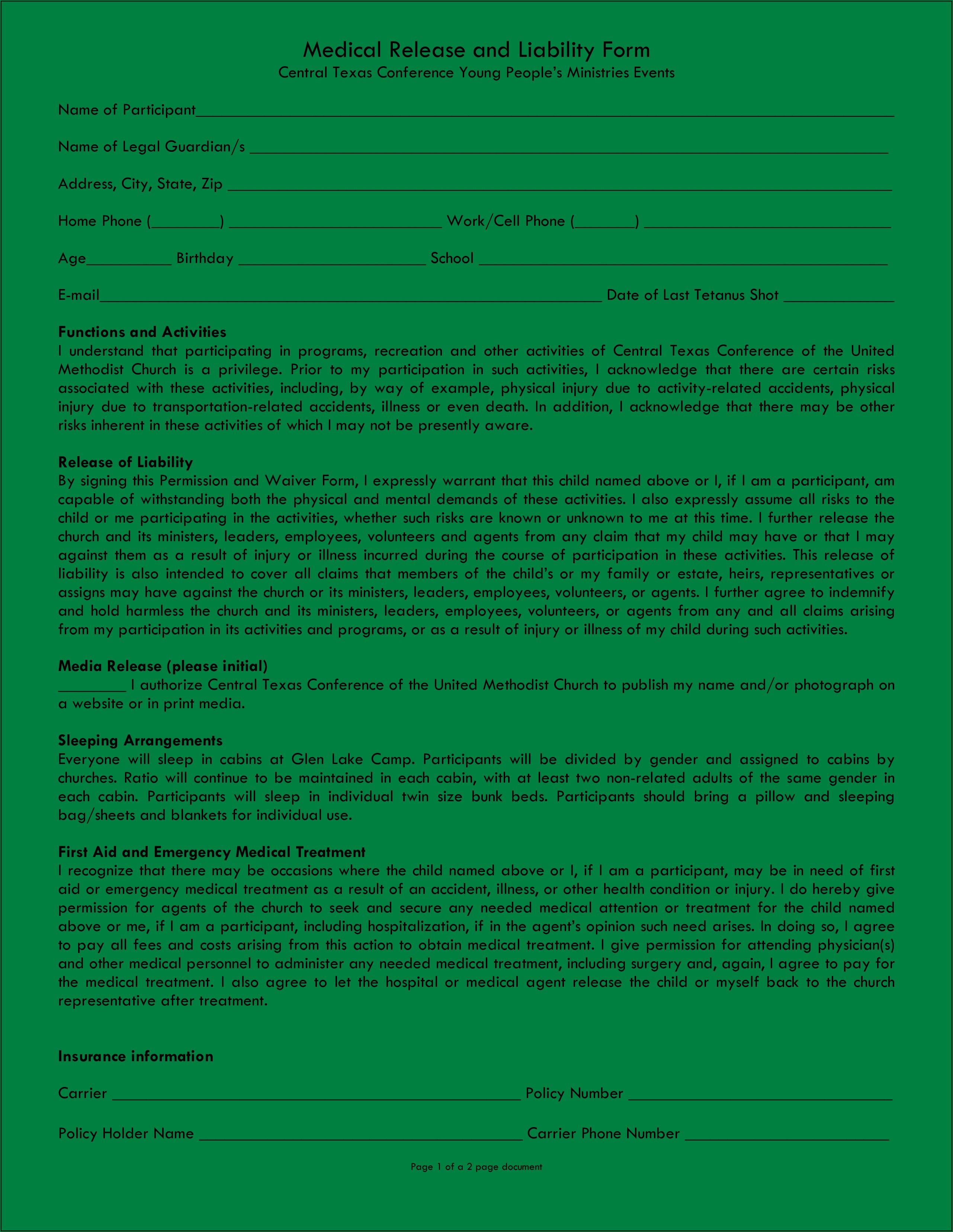 Medical Insurance Waiver Of Liability Form