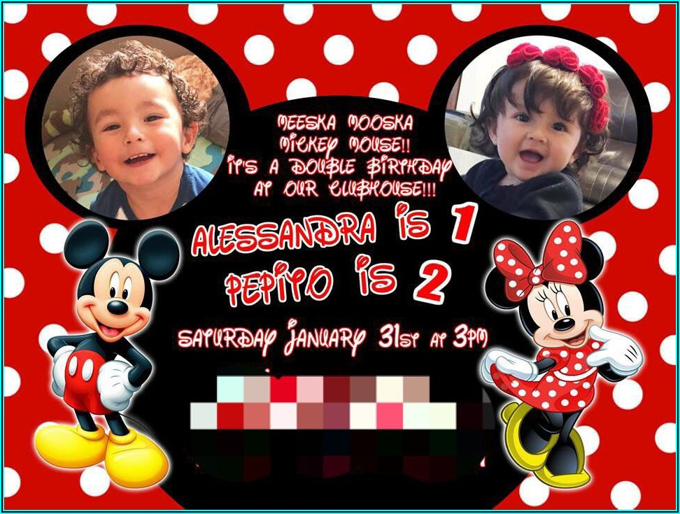 Mickey And Minnie Birthday Invitations For Twins