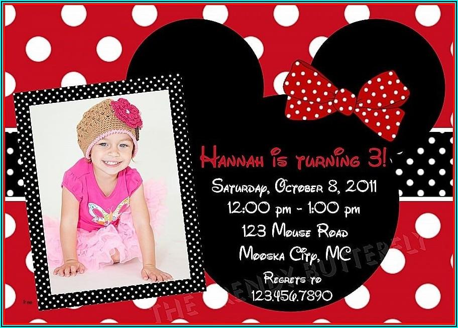 Mickey Minnie Mouse Birthday Invitation Card