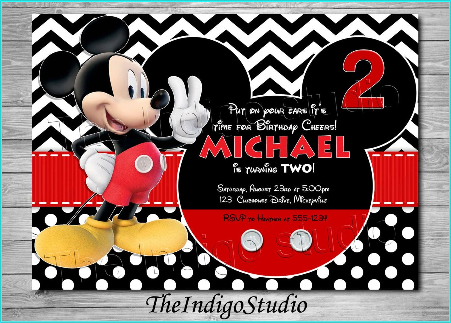 Mickey Mouse 2nd Birthday Invitation Ideas