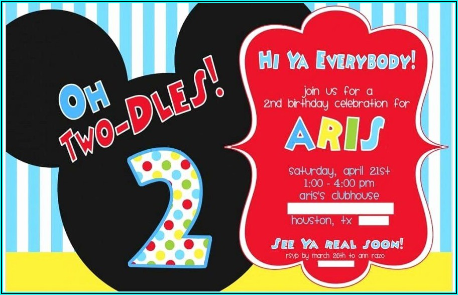 Mickey Mouse 2nd Birthday Invitation Template