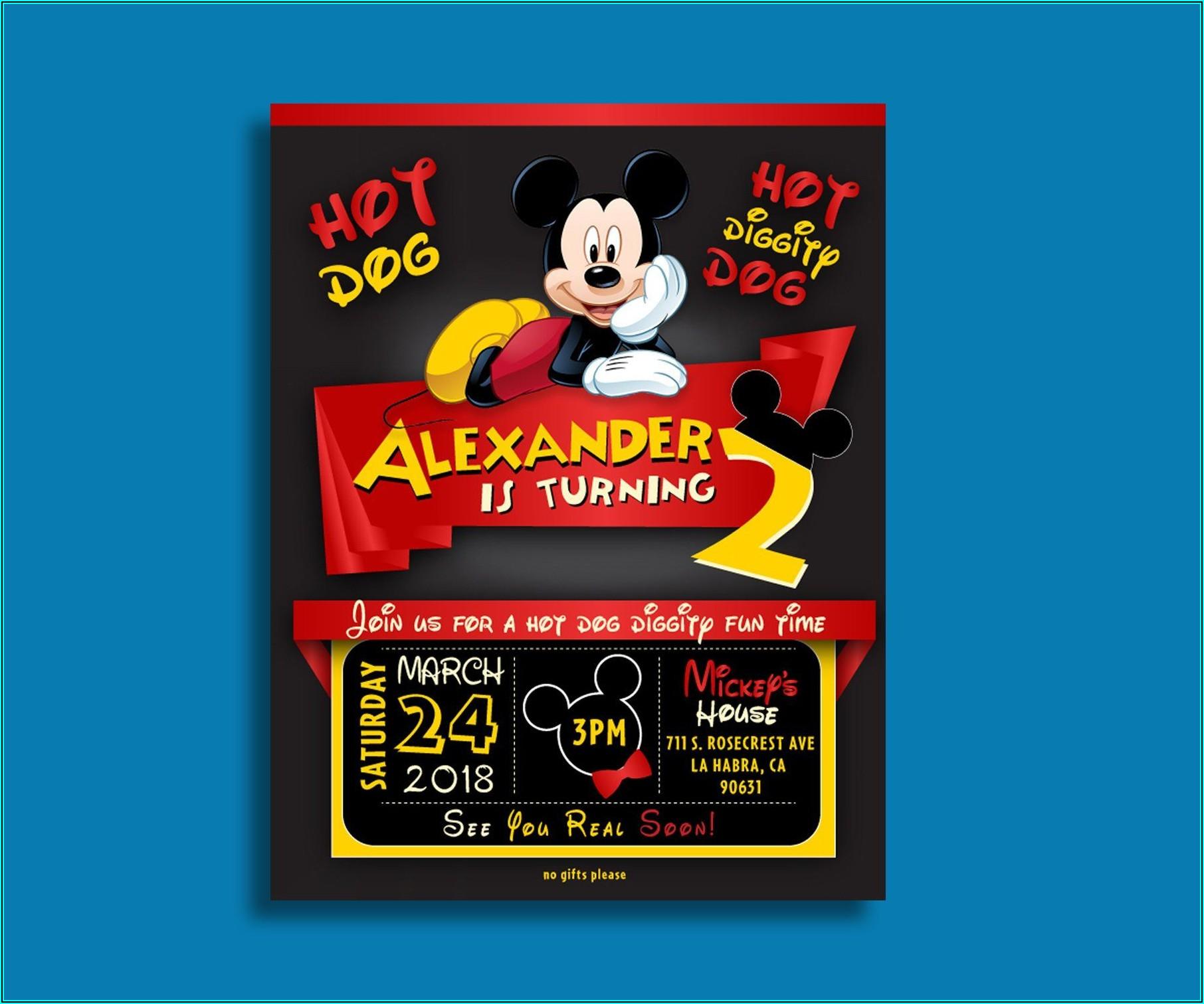 Mickey Mouse Birthday Invitations Etsy