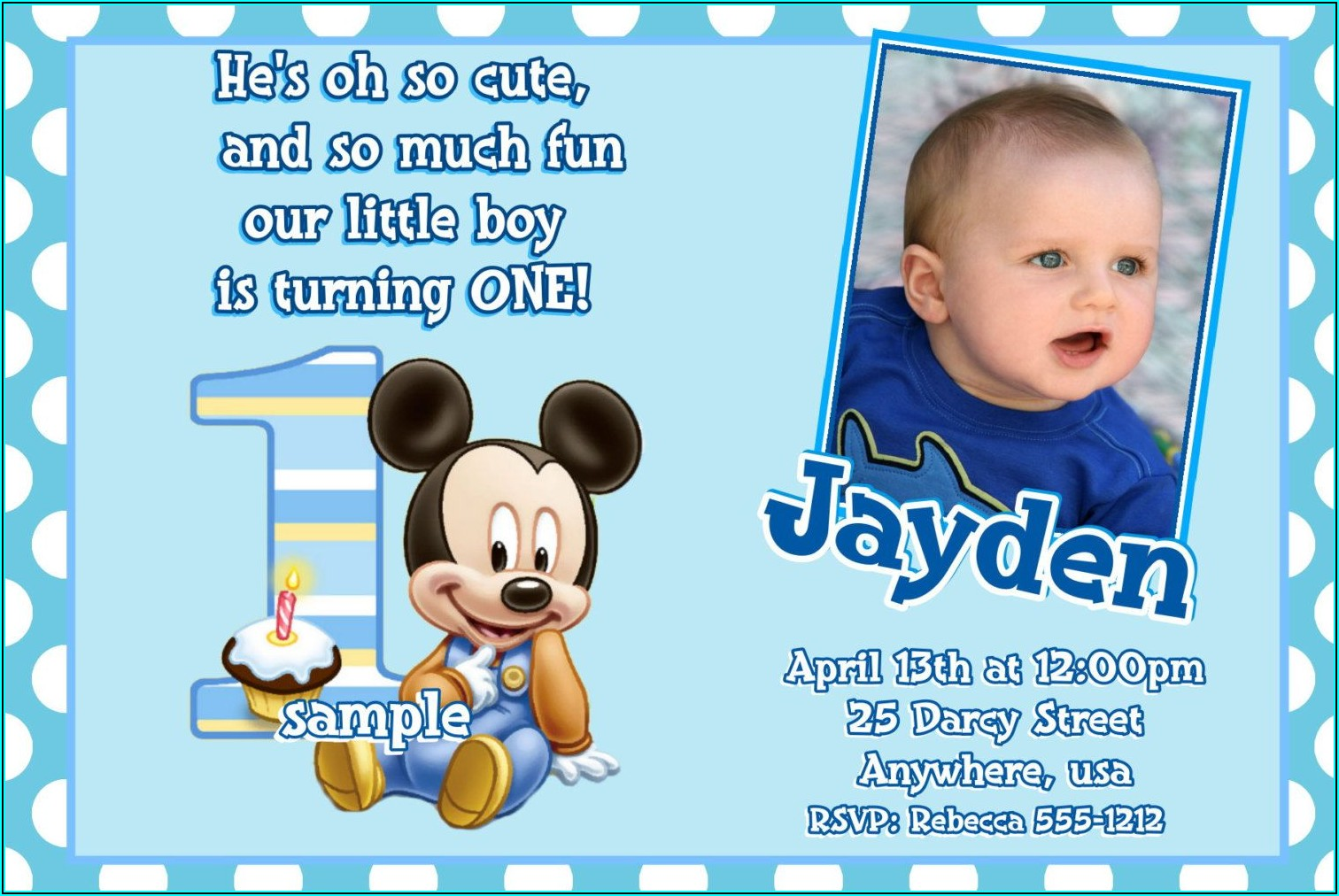 Mickey Mouse Birthday Invitations With Picture