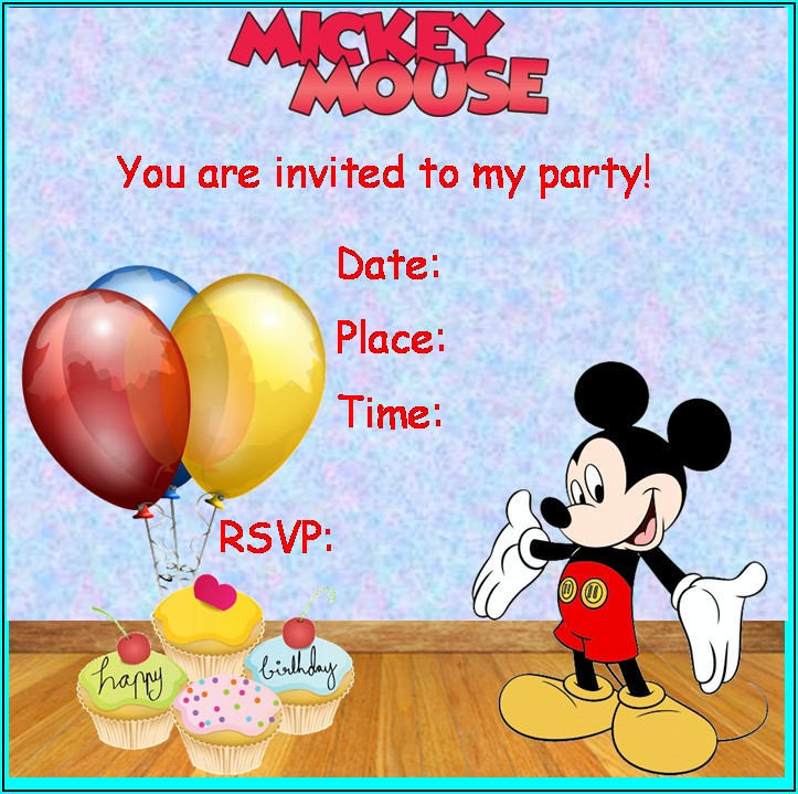 Mickey Mouse Birthday Invite Template Free