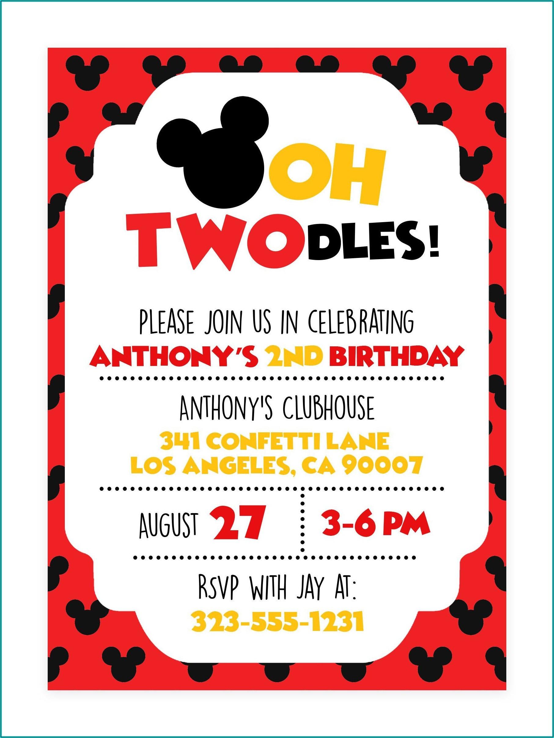 Mickey Mouse Second Birthday Invitations