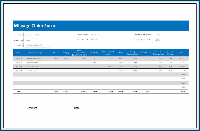 Mileage Claim Form Template Excel